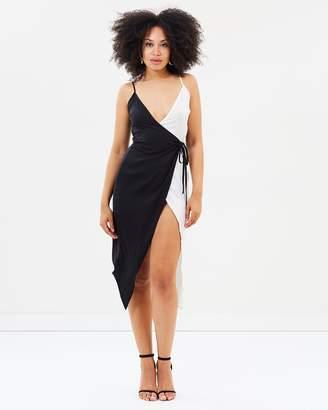 Missguided Monochrome Satin Wrap Dress