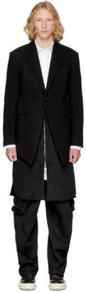 D.gnak By Kang.d Black Front Oblique Layered Coat