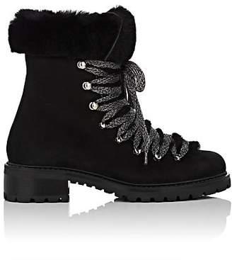 Barneys New York Women's Nubuck & Shearling Ankle Boots - Black