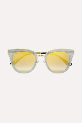 Crystal-embellished Cat-eye Acetate Sunglasses - Gray