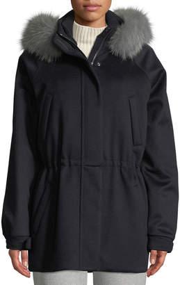 Loro Piana Cashmere Fox-Fur Hooded Parka Coat