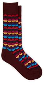 Paul Smith Men's Sunset Spot Cotton-Blend Mid-Calf Socks - Purple Pat