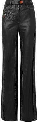 Ellery Fischer Paneled Leather Wide-leg Pants - Black