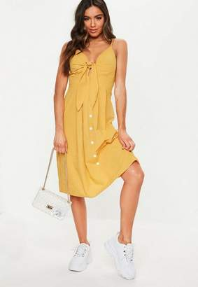 Missguided Yellow Tie Front Button Midi Dress