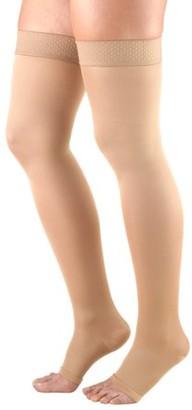 BEIGE Truform Women's Stockings, Thigh High, Open Toe: 20-30 mmHg, Beige, Medium