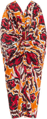 Marni Printed Cotton Tie-Front Cocoon Dress Size: 38