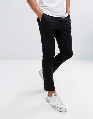 Asos Design Skinny Cropped Chinos In Black