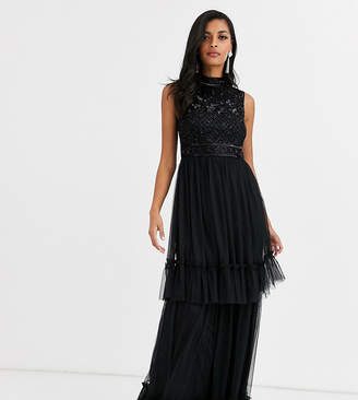 Amelia Rose embellished tiered tulle bridesmaid maxi dress in black