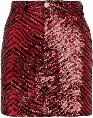 Alexandre Vauthier Zebra Sequin Mini Skirt