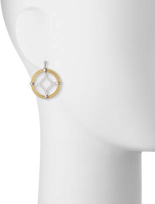 Alor Classique Pave Diamond Circle Drop Earrings, Yellow