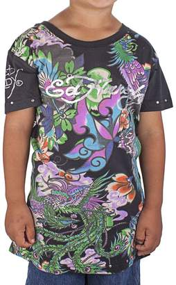 Ed Hardy Big Girls' Koi T-Shirt - Black