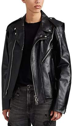 Valentino MEN'S ASYMMETRIC CUTOUT LEATHER MOTO JACKET - BLACK SIZE 52 EU