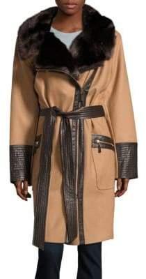 Via Spiga Plus Faux Fur & Faux Leather-Trimmed Wool Coat