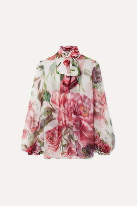 Dolce & Gabbana Pussy-bow Floral-print Silk-chiffon Blouse - White