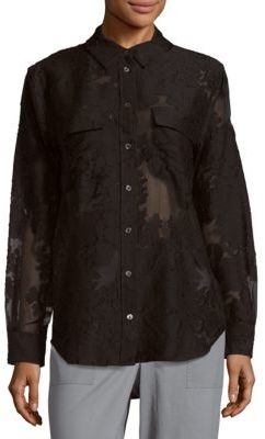EquipmentFloral Point-Collar Casual Button-Down Shirt