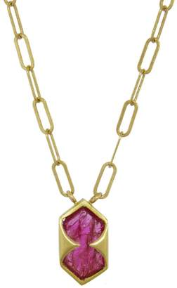 Cathy Waterman Untreated Ruby Shield Necklace - Yellow Gold