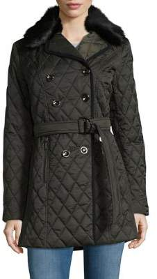 Laundry by Shelli Segal Faux Fur-Trimmed Quilted Jacket