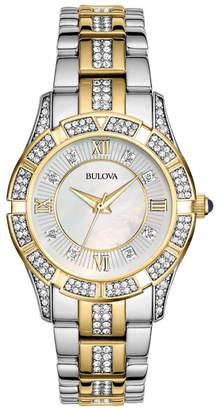 Bulova 30mm Crystal Bracelet Watch, Two-Tone