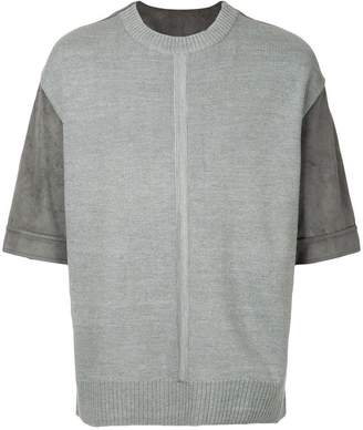 System knitted panel short-sleeve top