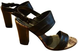 Dune Black Leather Sandals
