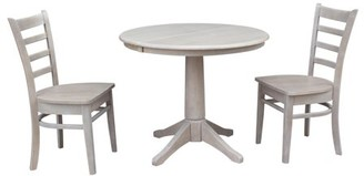 """INC International Concepts 36"""" Round Dining Table with 12"""" Leaf and 2 Emily Chairs Washed Gray Taupe - 3 Piece Set"""