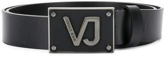 Versace gunmetal logo plate buckle belt
