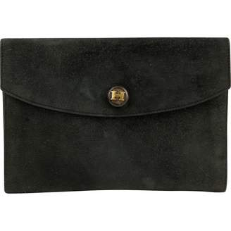 Hermes Vintage Rio Black Suede Clutch Bag