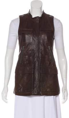 Theory Leather Zip-Up Vest