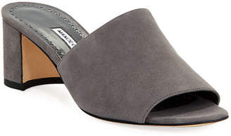 Manolo Blahnik Rapallato Suede Slide Sandals