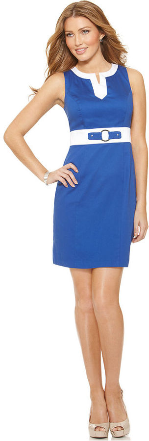 Amy Byer Dress, Sleeveless Splitneck Colorblock Sheath