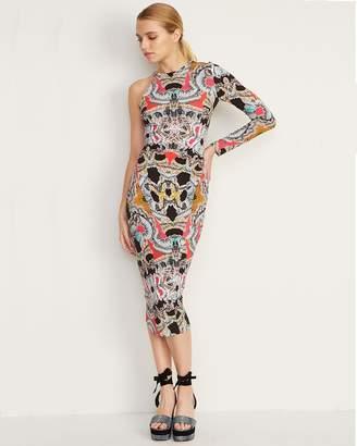 Nicole Miller Paisley Mash One Slv Ruched Dress