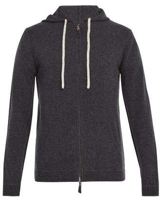 Allude Zip Up Wool Blend Hooded Sweater - Mens - Charcoal