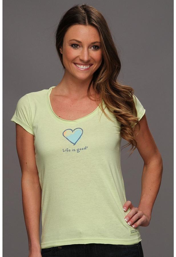 Life is Good Heart Crusher Lightweight Vee (Citron Green) - Apparel