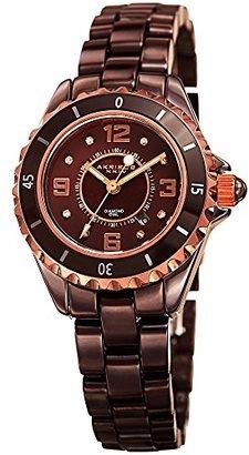 Akribos XXIV Women 's ak485brn-n Ceramic Quartz Date Ceramic Bracelet Watch