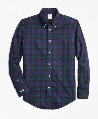Brooks Brothers Non-Iron Madison Fit Black Watch Tartan Sport Shirt