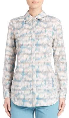 Lafayette 148 New York Brody Printed Cotton Blouse