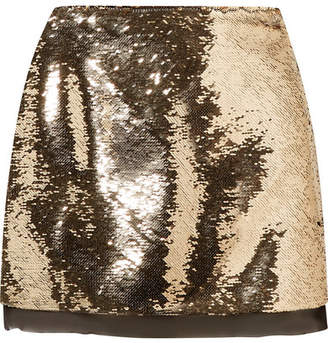 Rachel Zoe Finn Sequined Chiffon Mini Skirt - Gold