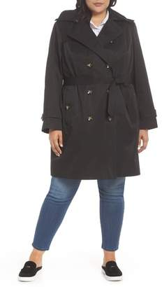 London Fog Hooded Double Breasted Trench Coat