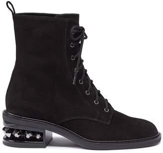 Nicholas Kirkwood 'Suzi' stud heel suede combat boots