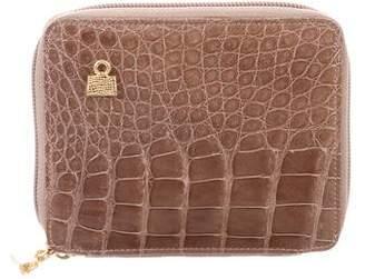Judith Leiber Crocodile Zip Wallet
