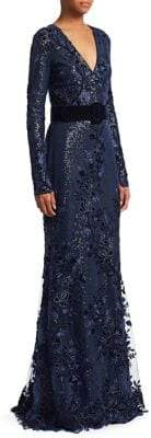 Badgley Mischka Women's Velvet Sequin Gown - Navy - Size 14