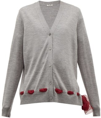 Miu Miu Chiffon Trim Wool Cardigan - Womens - Grey
