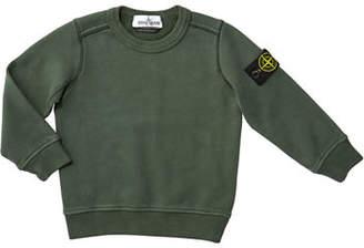 Stone Island Cotton Sweatshirt w/ Logo Tab on Sleeve, Size 8-10