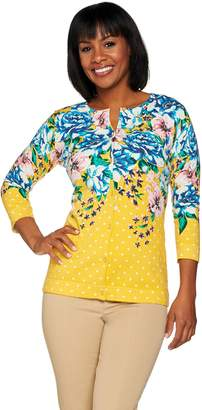 Isaac Mizrahi Live! Engineered Floral Printed Cardigan