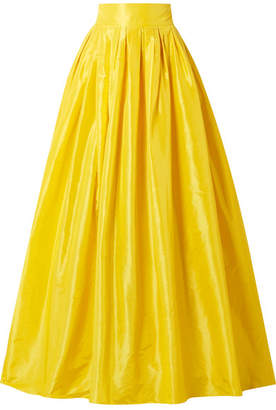 Carolina Herrera Belted Pleated Silk-satin Maxi Skirt - Yellow