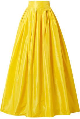 Carolina Herrera Belted Pleated Silk-satin Maxi Skirt - Yellow