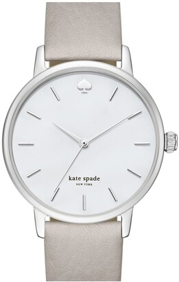 Kate Spade 'metro' Round Leather Strap Watch, 34mm