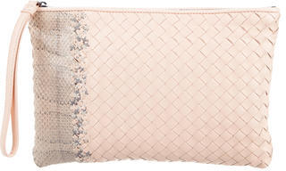 Bottega VenetaBottega Veneta Snakeskin-Accented Intrecciato Leather Wristlet
