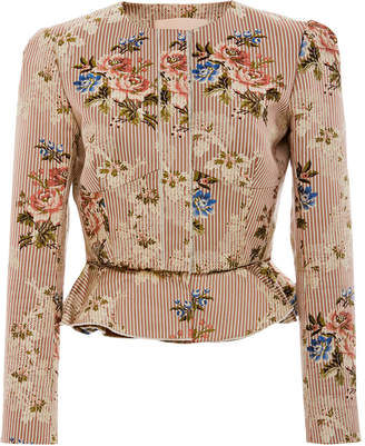 Brock Collection Janet Printed Cotton And Silk-Blend Peplum Jacket