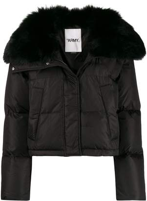 Yves Salomon Army large fur collar puffer jacket